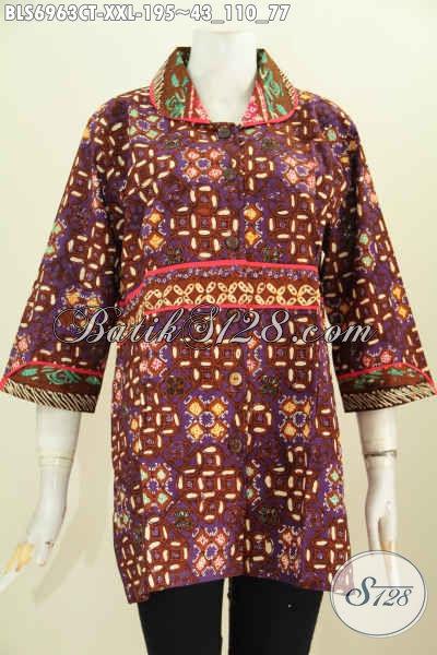 Jual Baju Batik Wanita Murah Dan Mewah, Blus Batik Jumbo Krah Plisir Kain Polos Untuk Kerja Dan Santai Cewek Berbadan Gemuk [BLS6963CT-XXL]