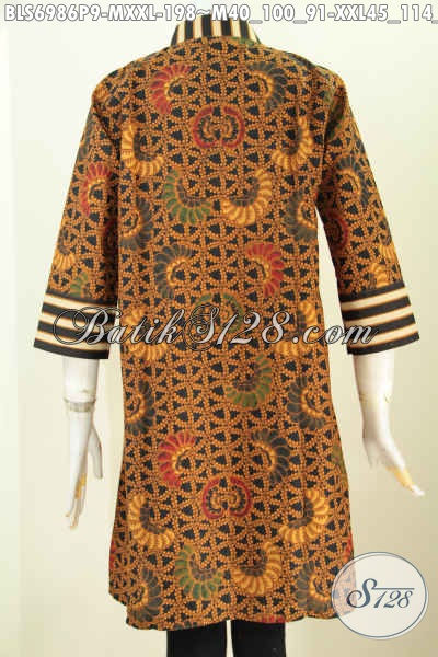 Blus Batik Printing Klasik Paduan Motif Slarak, Baju Batik Istimewa Dari Untuk Wanita Karir Yang Berkelas Model Resleting Depan [BLS6986P-M]