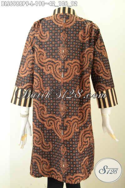 Model Baju Batik Atasan Wanita Terbaru 2020, Produk Pakaian Batik Resleting Depan Istimewa Harga 198 Ribu Motif Slarak [BLS6988P-L]