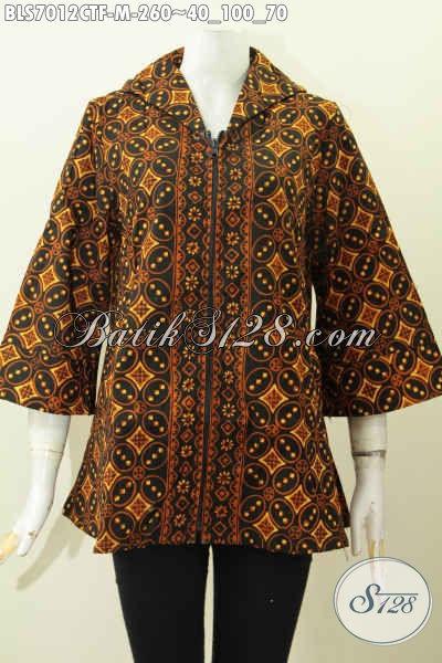 Baju Blus Batik Cap Tulis Mewah Berkelas Full Tricot, Pakaian Batik Solo Elegan Masa Kini Bahan Adem Model Resleting Depan Proses Cap Tulis Harga 260K, Cocok Buat Ngantor [BLS7012CTF-M]