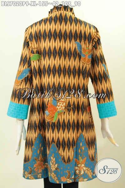 Batik Blus Motif Elegan Berpadu Kain Embo Biru Lebih Keren Dan Cantik, Cocok Untuk Seragam Kerja Dan Baju Pesta [BLS7020P-XL]
