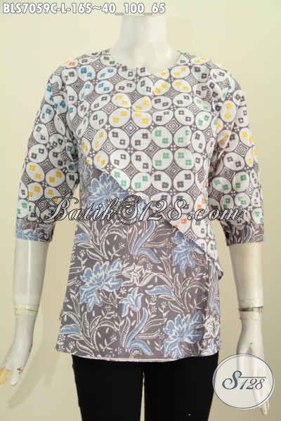 Baju Batik Kerja Wanita Kombinasi, Blus Batik Elegan Dan Modis Kombinasi 2 Warna Model Silang Untuk Penampilan Makin Mempesona [BLS7059C-L]