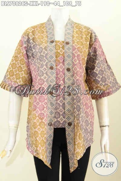 Pakaian Batik Wanita Gemuk Terkini, Blus Kutubaru Elegan Dengan Desain Seksi Untuk Penampilan Lebih Anggun Menggoda [BLS7082CG-XXL]