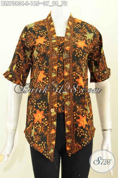 Batik Blus Elegan Model Kartini, Busana Batik Berkelas Desain Seksi Kutubaru Motif Terkini Proses Cap, Tampil Cantik Dan Anggun [BLS7083C-S]
