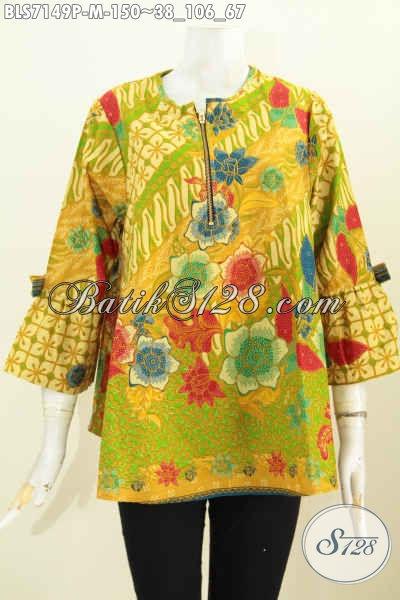 Batik Blus Kerja Model A Dengan Resleting Depan, Baju Batik Modis Lengan Bertali Bikin Keren Dan Trendy [BLS7149P-M]