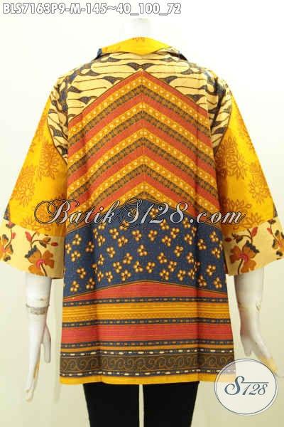 Baju Blsu Wanita Muda Ukuran M Bahan Batik Solo Printing Model Kerah Langsung Saku Kanan Kiri Untuk Penampilan Trendy Dan Bergaya [BLS7163P-M]