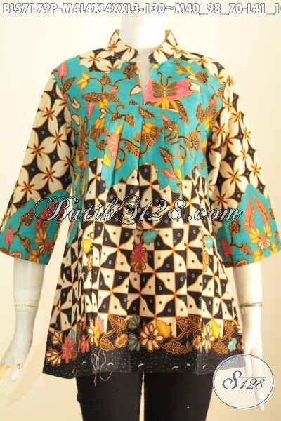 Blus Batik Printing Keren, Pakaian Batik Wanita Karir Untuk Penampilan Makin Cantik Dan Istimewa Harga 130K, Buatan Solo Asli [BLS7179P-L]