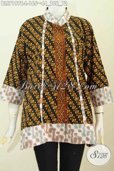 Model Baju Batik Perempuan 2020 Untuk Kerja, Blus Kerah Shanghai Plisir Berbahan Halus Motif Bagus Proses Cap Di Lengkapi Kancing Depan Sampai Bawah [BLS7197C-L]