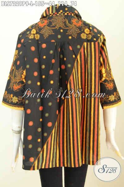 Jual Baju Batik Kerja Wanita 2020, Blus Batik Elegan Berkelas Motif Bagus Proses Printing Desain Kera Bulat Hanya 155K [BLS7229P-L]