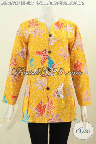 Batik Blus Warna Kuning Desain Mekar Bawah, Baju Batik Modis Motif Keren Proses Printing, Cocok Untuk Acara Resmi [BLS7293P-S]