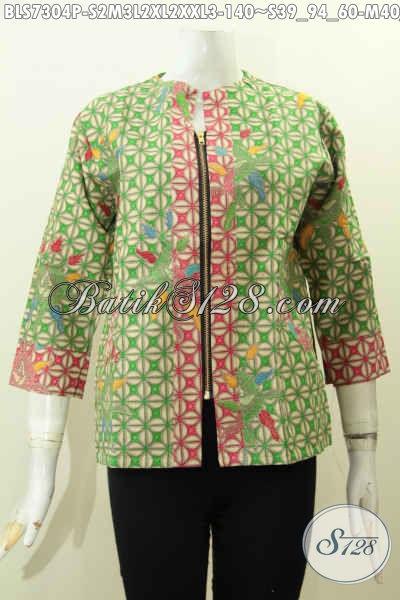 Batik Blus Trendy Wanita Muda Dan Dewasa Untuk Tampil Gaya Dan Mempesona, Hadir Dengan Kombinasi 2 Warna Dan Resleting Depan [BLS7304P-S , M]