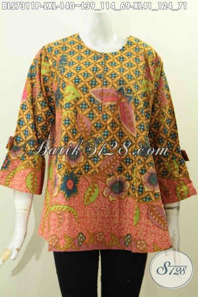 Baju Blus A Simetris, Busana Batik Wanita Lengan Berpita Kwalitas Bagus Harga Terjangkau, Tampil Mempesona [BLS7311P-XL]