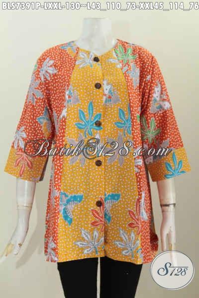 Grosir Eceran Baju Batik Wanita Murah Kwalitas Mewah, Blus Keren A Simetris Kombinasi 2 Warna Untuk Penampilan Makin OK [BLS7391P-L]
