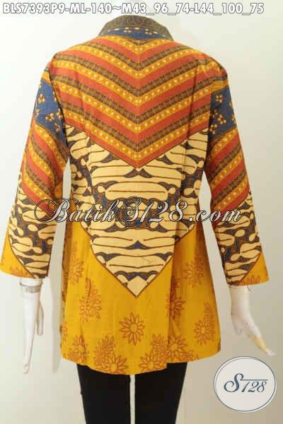 Jual Baju Batik Atasan Wanita, Blus Batik Solo Elegan Motif Sinaran Dengan Kerah Shanghai 140K [BLS7393P-M]