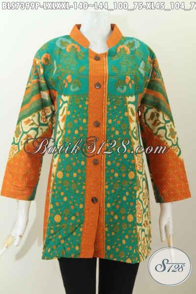 Bati Blus Istimewa Harga Biasa, Pakaian Batik Kerah Shanghai Motif Sinaran Proses Printing, Cocok Untuk Acara Resmi [BLS7399P-XL]