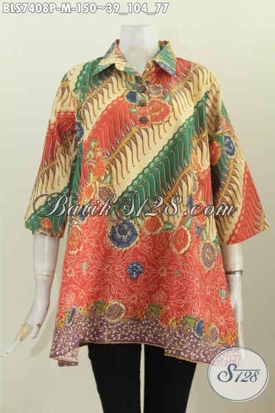 Batik Blus Printing Elegan Motif Bagus Harga 150K, Pakaian Batik Kancing Depan Kerah Lancip, Tampil Modis Dan Cantik [BLS7408P-M]