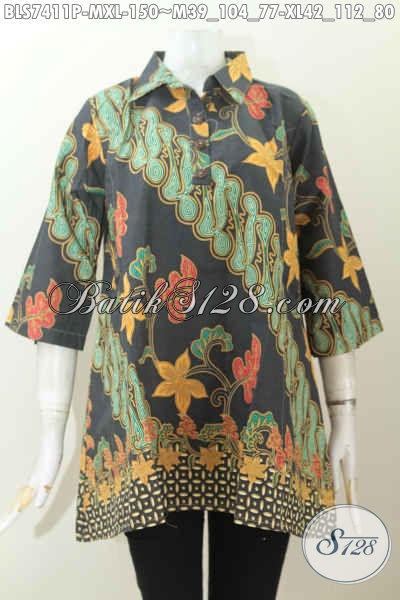 Toko Baju Batik Online, Sedia Blus Kerah Lancip Kancing Depan Motif Keren Proses Printing 100 Ribuan [BLS7411P-M]