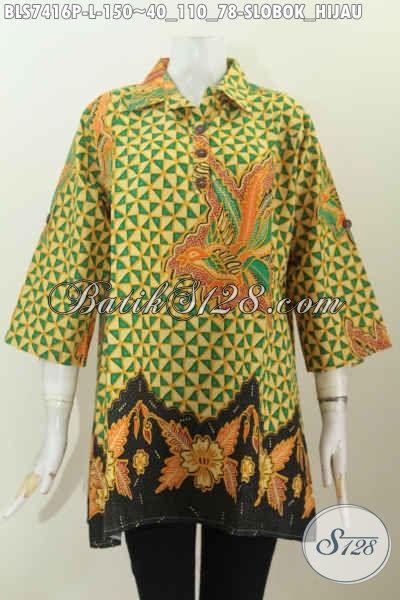 Produk Baju Batik Kerja Wanita Kantoran Motif Slobok Hijau, Blus Batik Printing Kancing Depan Kerah Lancip, Cocok Juga Untuk Acara Resmi [BLS7416P-L]