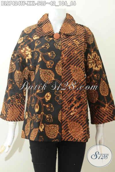 Batik Blus Mewah Wanita Gemuk, Baju Batik Model Seset Kerah Dan Samping Nan Berkelas Daleman Full Furing Motif Tulis Asli, Tampil Lebih Istimewa [BLS7424TF-XXL]