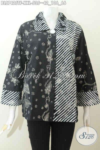 Contoh Model Baju Batik Kantor Wanita Kombinasi seset dibagian kiri, kerah dan ujung lengan