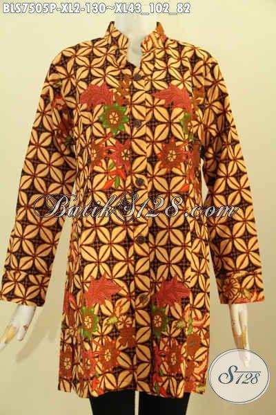 Baju Batik Elegan Proses Printing, Blus Sashi Kwalitas Istimewa Buatan Solo Motif Klasik Printing, Tampil Makin Berkelas [BLS7505P-XL]