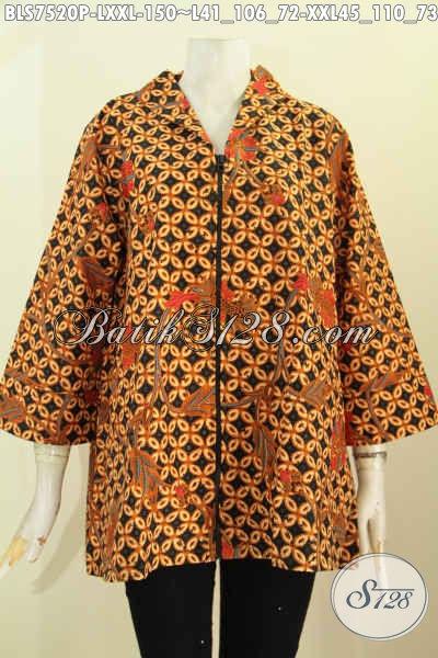 Baju Batik Motif Kawung, Blus Resti Batik Printing Nan Elegan, Penampilan Lebih Menawan Bahan Halus Model Kerah Langsung Dengan Resleting Depan Trend Terkini [BLS7520P-XXL]