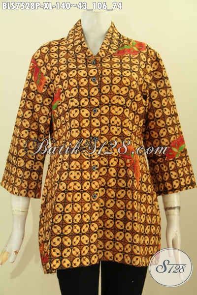 Baju Batik Wanita Dewasa Motif Kawung Klasik, Blus Ofi Bahan Batik Printing Solo Dengan Ofneisel Kerah Dan Lengan, Tampil Anggun Dan Menawan [BLS7528P-XL]