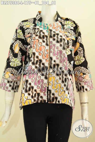Produk Baju Batik Terkini Untuk Wanita Kerja, Blus Ayus Kerah Shanghai Resleting Depan Yang Modis Untuk Santai Dan Resmi Proses Cap [BLS7538C-L]