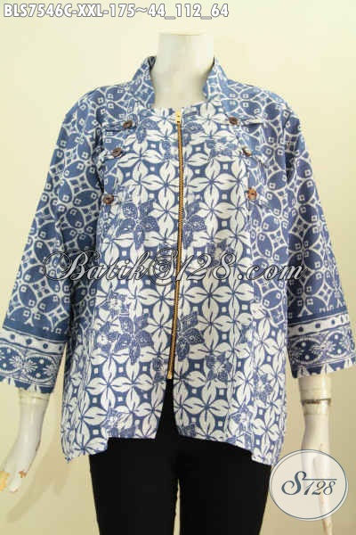 Baju Batik Wanita Big Size, Blus Ayus Warna Biru Motif Unik Proses Cap Model Kerah Shanghai Resleting Depan, Wanita Gemuk Tampil Bergaya [BLS7546C-XXL]