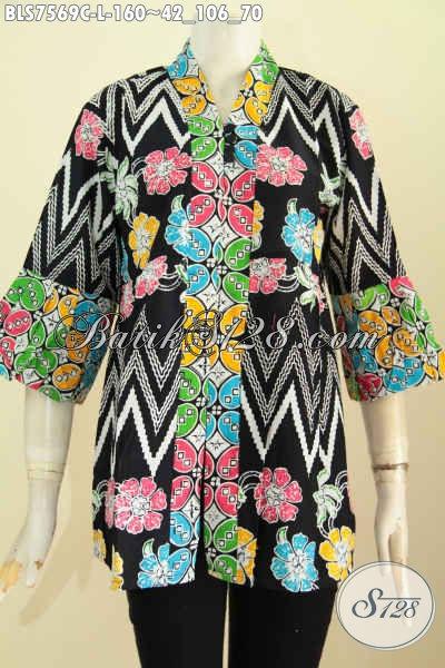 Jual Produk Busana Batik Wanita Terkini, Blus Kenzi Kancing Banyak Motif Keren Banget Proses Cap, Modis Buat Kerja Dan Pesta [BLS7569C-L]