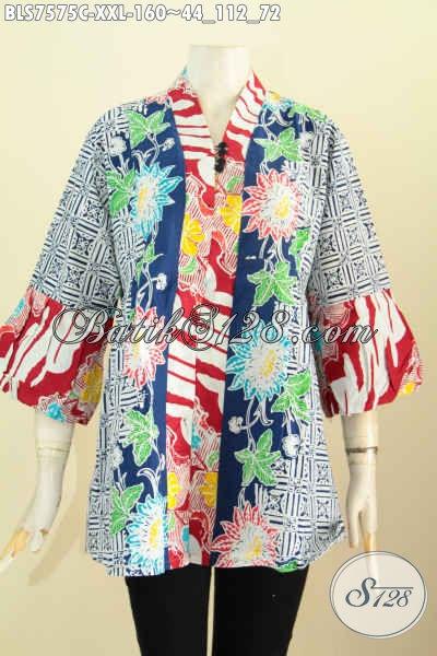 Jual Baju Batik Modern Desain Terkini Lebih Modis Dan Gaul, Blus Kenzi Kancing Banyak Motif Proses Cap Ukuran Jumbo, Wanita Gemuk Terlihat Keren [BLS7575C-XXL]