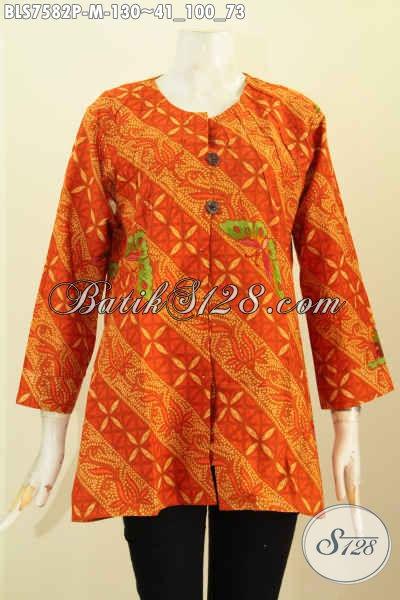 Baju Blus Batik Solo, Pakaian Batik Trendy Motif Elegan Proses Printing Desain Tanpa Krah, Cocok Untuk Seragam Kerja [BLS7582P-M]