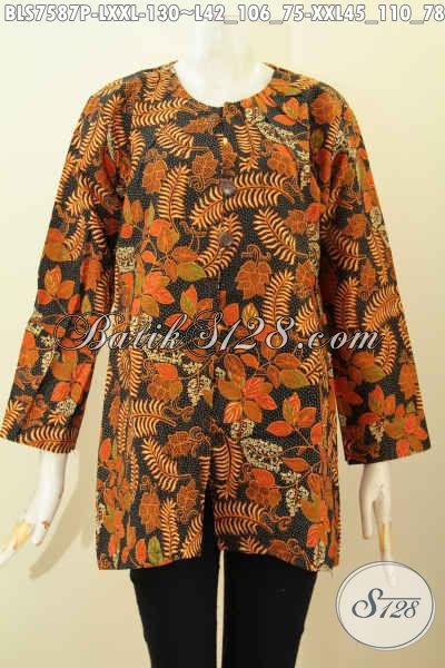 Batik Blus Solo Keren, Pakaian Batik Kerja Tanpa Krah Bahan Halus Proses Printing Motif Unik, Penampilan Lebih Gaya [BLS7587P-L]