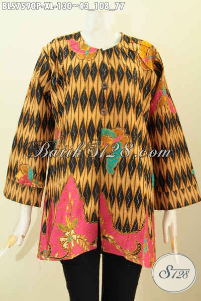 Baju Blus Elegan Bahan Batik Printing, Pakaian Batik Wanita Dewasa Tanpa Kerah Menunjang Penampilan Lebih Berkelas [BLS7590P-XL]