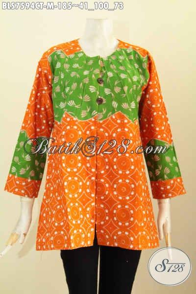 Baju  Batik Wanita Glamour, Blus Tanpa Krah Motif Keren Warna Kombinasi Orange Dan Hijau Proses Cap Tulis, Spesial Buat Wanita Muda [BLS7594CT-M]