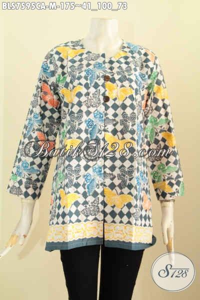 Batik Blus Paling Keren, Hadir Dengan Model Tanpa Krah Kwalitas Bagus Proses Cap Warna Alam, Penampilan Lebih Bergaya [BLS7595CA-M]