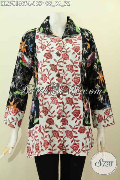 Blus Batik Kombinasi, Baju Batik Model Krah Buatan Solo Yang Modis Buat Kerja Dan Jalan-Jalan Proses Cap Tulis [BLS7613CT-L]