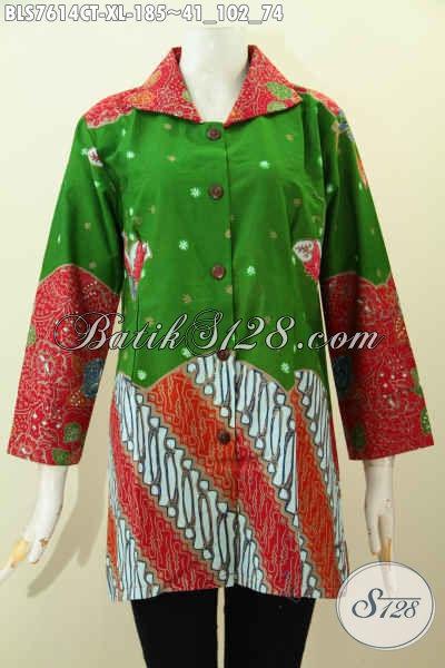 Batik Blus Solo Jawa Tengah, Pakaian Batik Keren Terkini, Pakaian Batik Wanita Dewasa Motif Kombinasi Proses Cap Tulis, Penampilan Lebih Mempesona [BLS7614CT-XL]