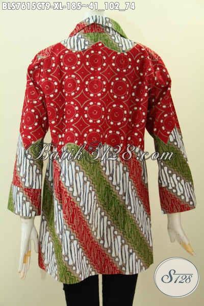 Baju Batik Wanita Dewasa, Blus Model Kerah Motif Kombinasi, Busana Batik Cap Tulis Buatan Solo, Istimewa Untuk Kerja Dan Acara Resmi [BLS7615CT-XL]