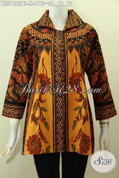 Blus Batik Kerja, Pakaian Batik Wanita Model 2017, Baju Batik  Modis Motif Klasik Elegan Kombinasi Tulis Hanya 175K [BLS7622BT-M]