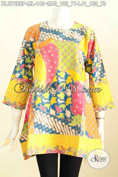Baju Batik Atasan Wanita Terbaru, Pakaian Batik Modis 2017 Bahan Adem Motif Keren Proses Printing Hanya 140K [BLS7628P-L]