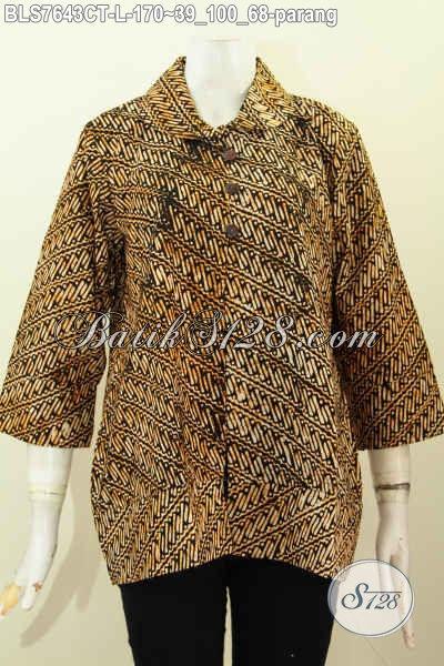 Baju Blus Solo Kerah Bulat Kancing Depan, Busana Batik Klasik Parang Cap Tulis, Penampilan Lebih Istimewa [BLS7643CT-L]