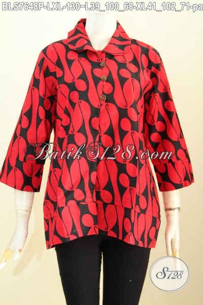 Batik Blus Motif Parang Baju Batik Wanita Monokrom Merah Hitam