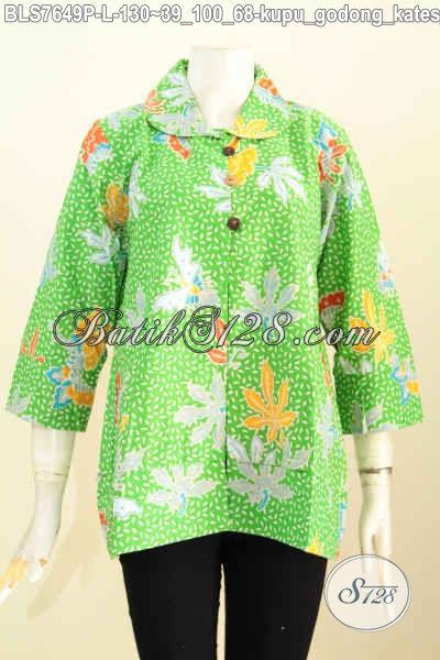 Online Shop Pakaian Batik Wanita Terlengkap, Sedia Blus Warna Hijau Motif Kupu Godong Kates Berah Utah Proses Printing Harga 130K [BLS7649P-L]