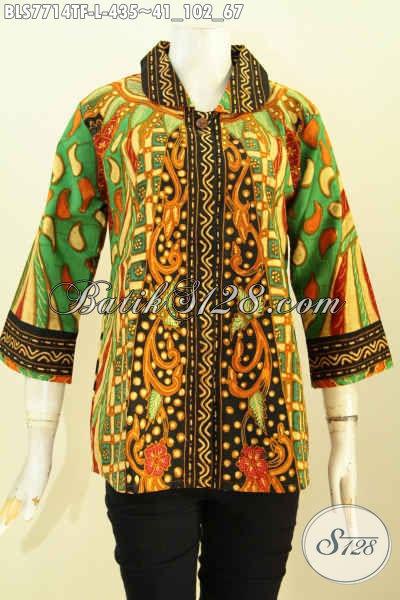 Contoh kemeja batik wanita kerah bulat motif sinaran