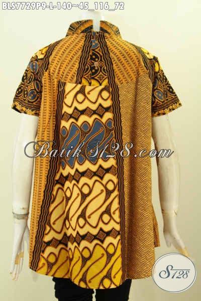 Baju Batik Atasan Wanita Murah Kwalitas Mewah, Pakaian Batik Klasik Printing Buatan Solo Asli Untuk Penampilan Lebih Sempurna [BLS7729P-L]