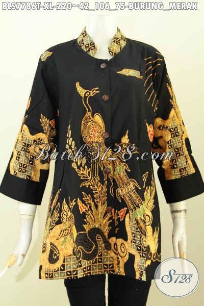 Model baju batik atasan wanita kantor dasar hitam motif burung merak