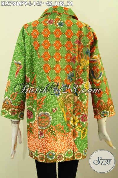 Baju Blus Keren Elegan Desain Terkini, Blus Batik Kerah Motif Terbaru Proses Printing Bikin Penampilan Lebih Mempesona [BLS7806P-L]