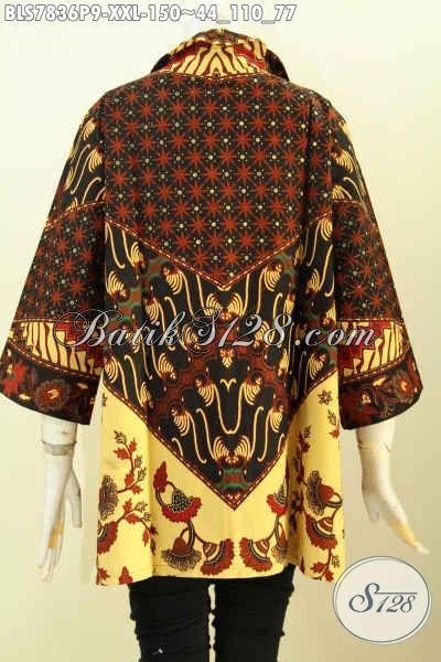 Toko Baju Batik Online, Pakaian Batik Modis Halus Kwalitas Istimewa Buatan Solo Motif Sinaran Proses Printing, Big Size Spesial Buat Wanita Gemuk [BLS7836P-XXL]