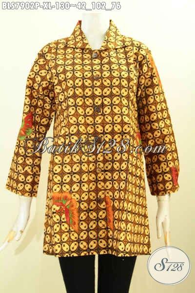 Jual Baju Batik Klasik Kawung, Busana Batik Model Trend Masa Kini Kwalitas Bagus Harga Murmer, Asli Buatan Solo [BLS7902P-XL]